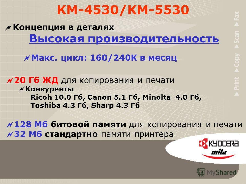 Концепция в деталях Высокая производительность Высокая скорость сканирования 50 ориг./мин. KM-4530, 62 ориг./мин. KM-5530 Быстрее, чем скорость печати Я хочу, чтобы время, пока я смотрю, как машина сканирует, было по возможности короче. KM-4530/KM-55