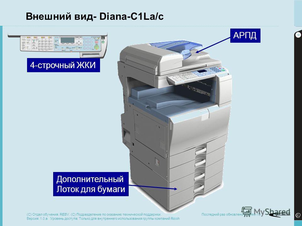 12 Последний раз обновлено 21-Dec-13 Внешний вид- Diana-C1La/c АРПД Дополнительный Лоток для бумаги 4-строчный ЖКИ (C) Отдел обучения. REBV. (C) Подразделение по оказанию технической поддержки. Версия: 1.0.a Уровень доступа: Только для внутреннего ис