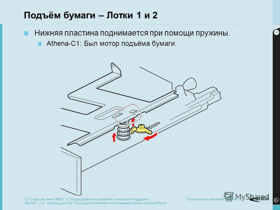 158 Последний раз обновлено 21-Dec-13 Подъём бумаги – Лотки 1 и 2 Нижняя пластина поднимается при помощи пружины. Athena-C1: Был мотор подъёма бумаги. (C) Отдел обучения. REBV. (C) Подразделение по оказанию технической поддержки. Версия: 1.0.a Уровен