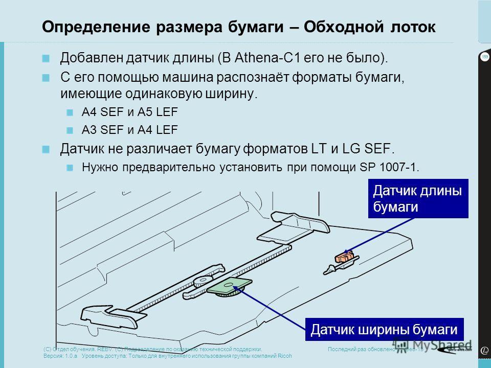 159 Последний раз обновлено 21-Dec-13 Определение размера бумаги – Обходной лоток Добавлен датчик длины (В Athena-C1 его не было). С его помощью машина распознаёт форматы бумаги, имеющие одинаковую ширину. A4 SEF и A5 LEF A3 SEF и A4 LEF Датчик не ра