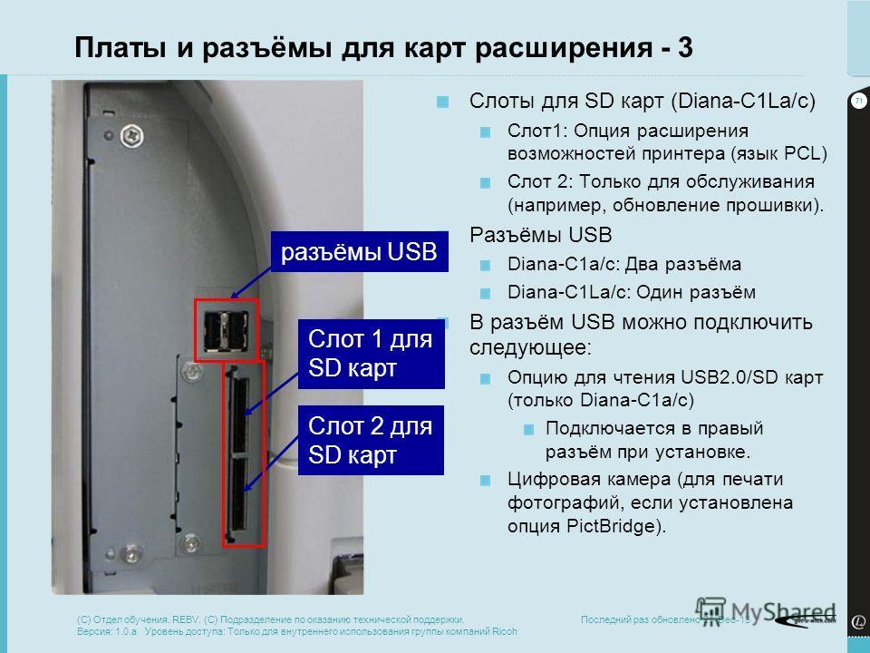 71 Последний раз обновлено 21-Dec-13 Платы и разъёмы для карт расширения - 3 Слоты для SD карт (Diana-C1La/c) Слот1: Опция расширения возможностей принтера (язык PCL) Слот 2: Только для обслуживания (например, обновление прошивки). Разъёмы USB Diana-