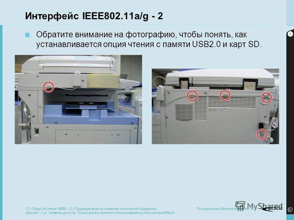 75 Последний раз обновлено 21-Dec-13 Интерфейс IEEE802.11a/g - 2 Обратите внимание на фотографию, чтобы понять, как устанавливается опция чтения с памяти USB2.0 и карт SD. (C) Отдел обучения. REBV. (C) Подразделение по оказанию технической поддержки.