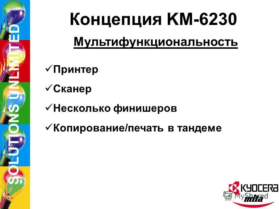 SOLUTIONS UNLIMITED Концепция KM-6230 Новые функции HDD Модифицирование копий Совмещенный ящик отпечатков Коллективный «ящик» данных Виртуальный «почтовый ящик» Тестовое копирование