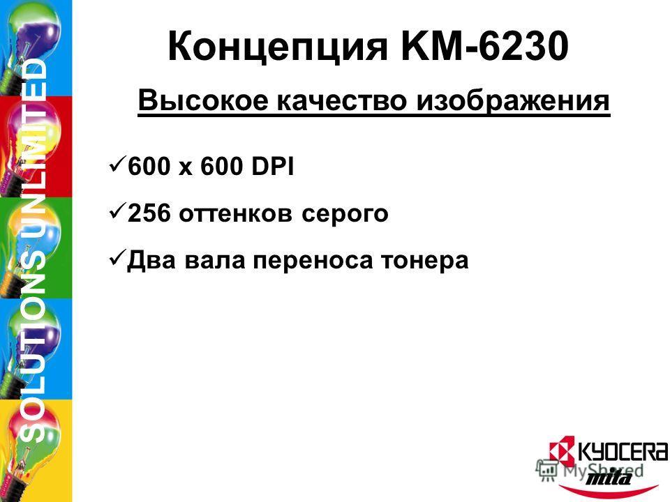 SOLUTIONS UNLIMITED Концепция KM-6230 Мультифункциональность Принтер Сканер Несколько финишеров Копирование/печать в тандеме