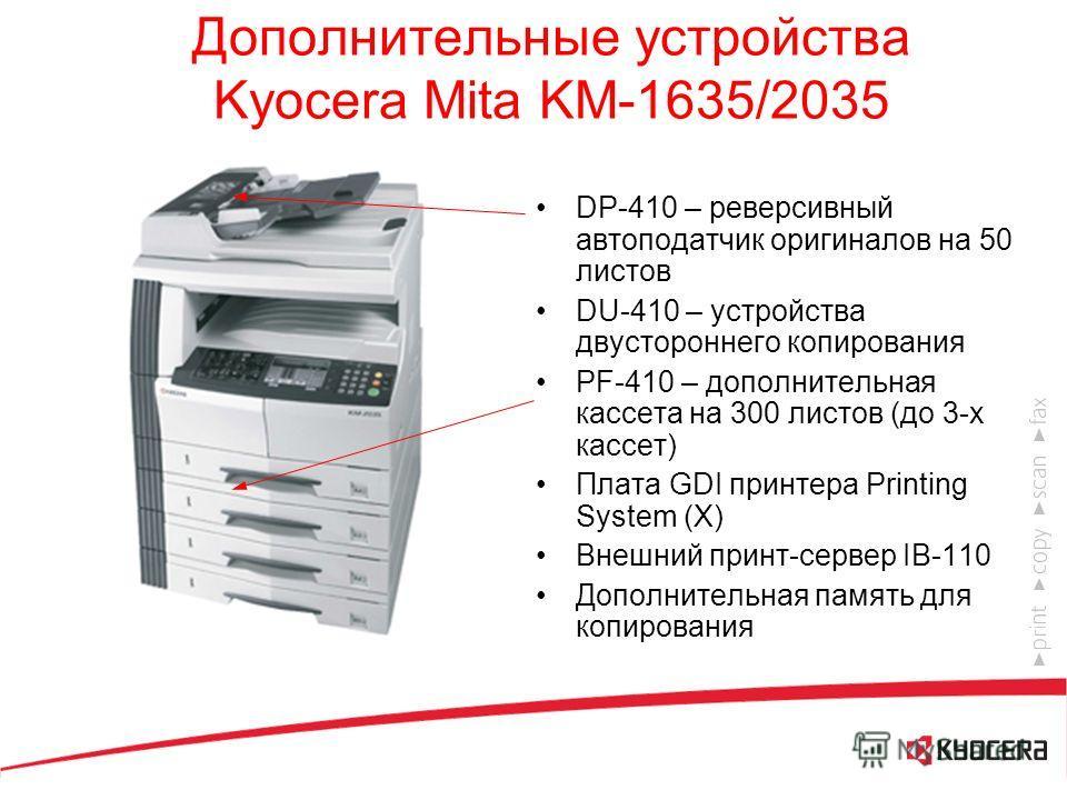 Kyocera Mita KM-1635/2035 Доступный цифровой копир формата A3 с возможностью подключения к сети 16/20 стр./мин. 600 dpi Память: 32 Мб (макс. 160 Мб) 25 – 400 % Цикл обслуживания: 150000 копий Максимальный объем копирования в месяц: 20000/30000 копий