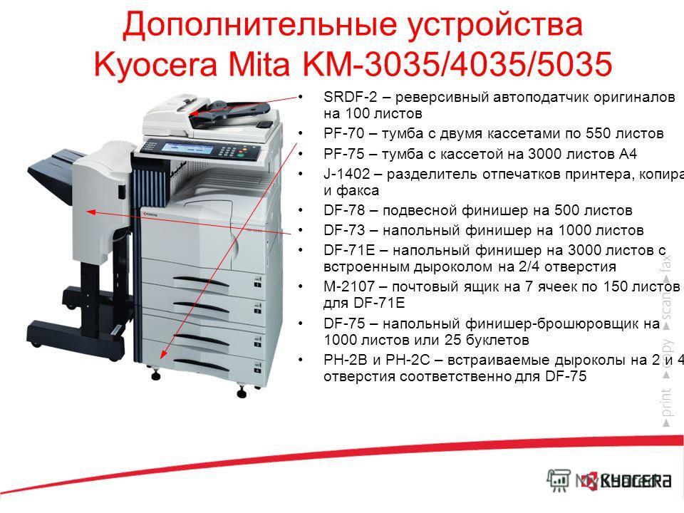 Kyocera Mita KM-5035 Высокопроизводительный многофункциональный копир для рабочей группы 50 стр./мин. 600 dpi Память: 64 Мб (станд.), 64 Мб + HDD 20 Гб (макс.) 25 – 400 % Цикл обслуживания: 500000 копий Максимальный объем копирования в месяц: 150000