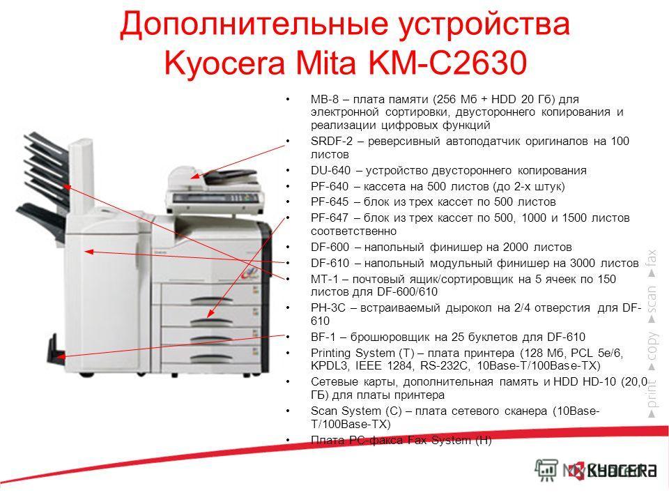 Kyocera Mita KM-C2630 26 цв. и ч/б стр./мин. 600 dpi, 256 оттенков, 4 бит на точку Память: 256 Мб 25 – 400 % Бумага до 220 г/м 2 Цикл обслуживания: 300000 копий Максимальный объем копирования в месяц: 100000 цв. или ч/б копий Современный дизайн Широк