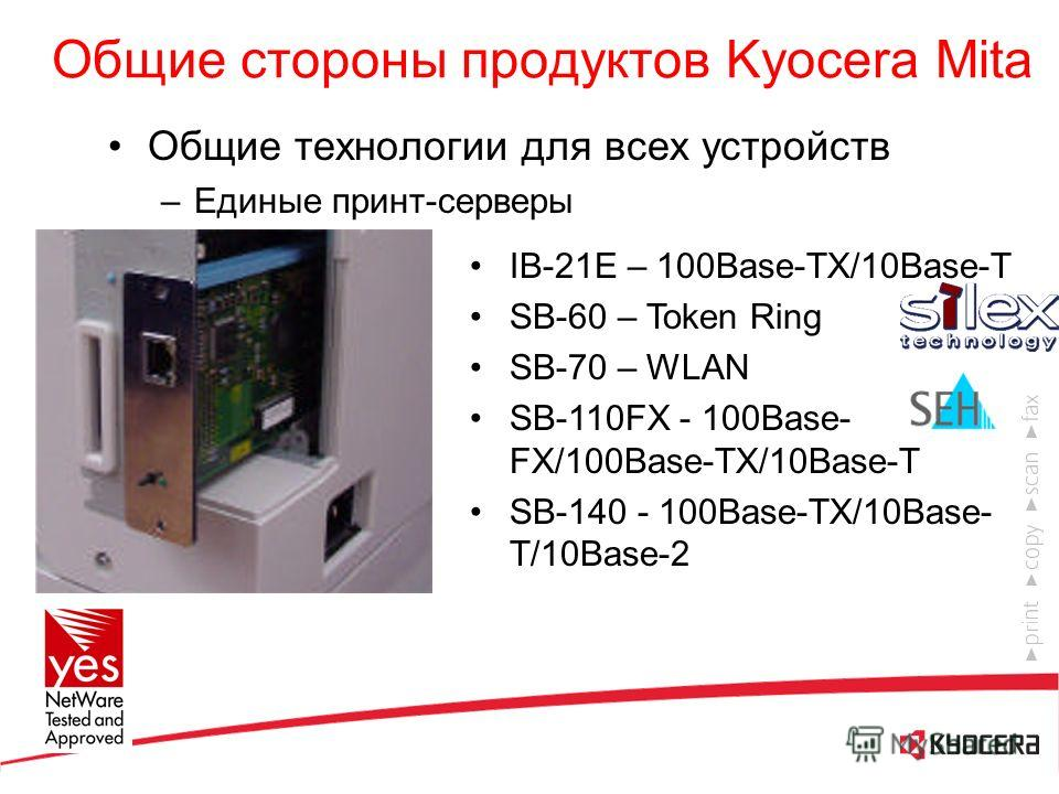 Общие стороны продуктов Kyocera Mita Общие технологии для всех устройств –Единые принт- контроллеры Простота установки