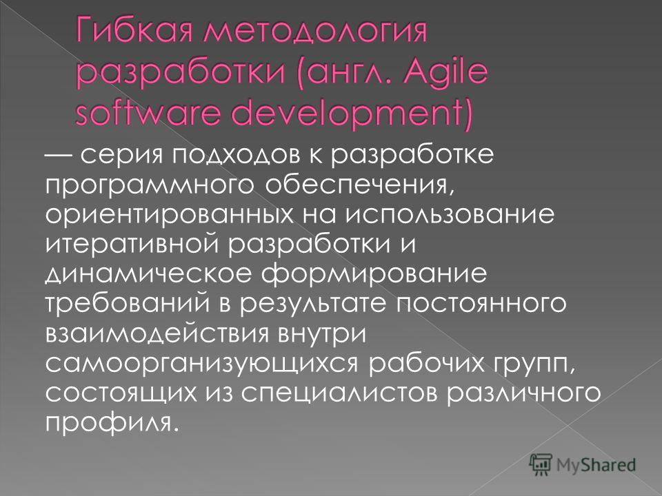 серия подходов к разработке программного обеспечения, ориентированных на использование итеративной разработки и динамическое формирование требований в результате постоянного взаимодействия внутри самоорганизующихся рабочих групп, состоящих из специал
