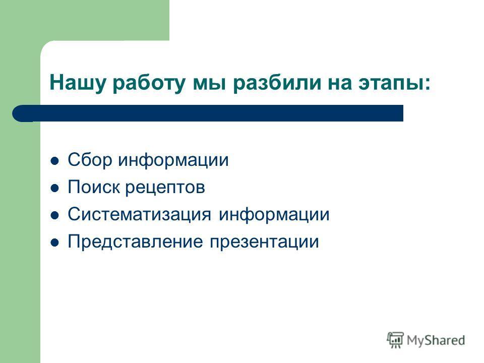 Нашу работу мы разбили на этапы: Сбор информации Поиск рецептов Систематизация информации Представление презентации