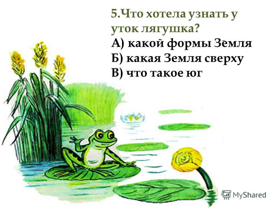 5.Что хотела узнать у уток лягушка? А) какой формы Земля Б) какая Земля сверху В) что такое юг