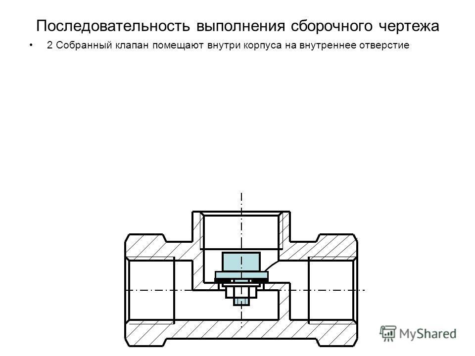 Последовательность выполнения сборочного чертежа 2 Собранный клапан помещают внутри корпуса на внутреннее отверстие