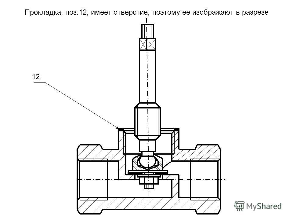Прокладка, поз.12, имеет отверстие, поэтому ее изображают в разрезе 12