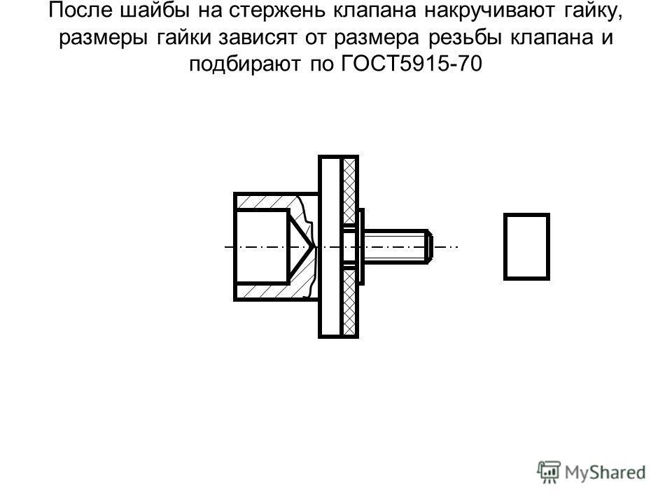 После шайбы на стержень клапана накручивают гайку, размеры гайки зависят от размера резьбы клапана и подбирают по ГОСТ5915-70