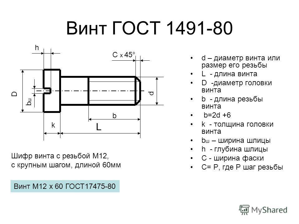 Винт ГОСТ 1491-80 d – диаметр винта или размер его резьбы L - длина винта D -диаметр головки винта b - длина резьбы винта b=2d +6 k - толщина головки винта b ш – ширина шлицы h - глубина шлицы С - ширина фаски С= Р, где Р шаг резьбы d L С х 45° k b D