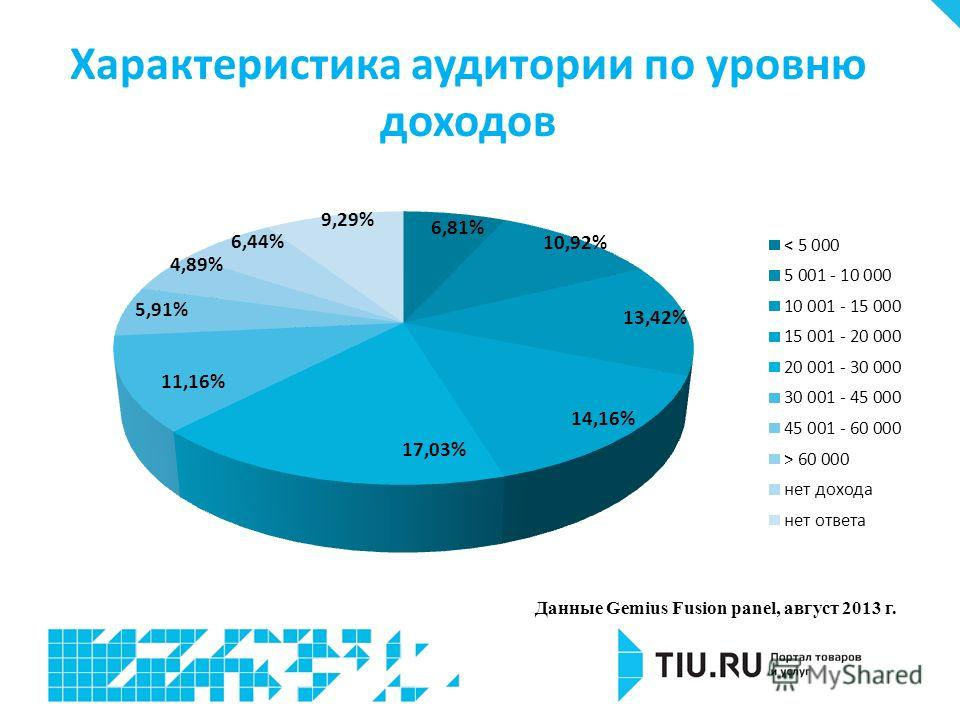 Характеристика аудитории по уровню доходов Данные Gemius Fusion panel, август 2013 г.
