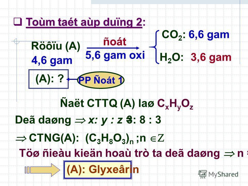 Deã daøng x: y : z = 3: 8 : 3 CTNG(A): (C 3 H 8 O 3 ) n ;n Töø ñieàu kieän hoaù trò ta deã daøng n = 1 (A): Glyxeârin Toùm taét aùp duïng 2 Toùm taét aùp duïng 2: Röôïu (A) 4,6 gam CO 2 : H 2 O: 6,6 gam 3,6 gam (A): ? PP Ñoát 1 ñoát 5,6 gam oxi Ñaët