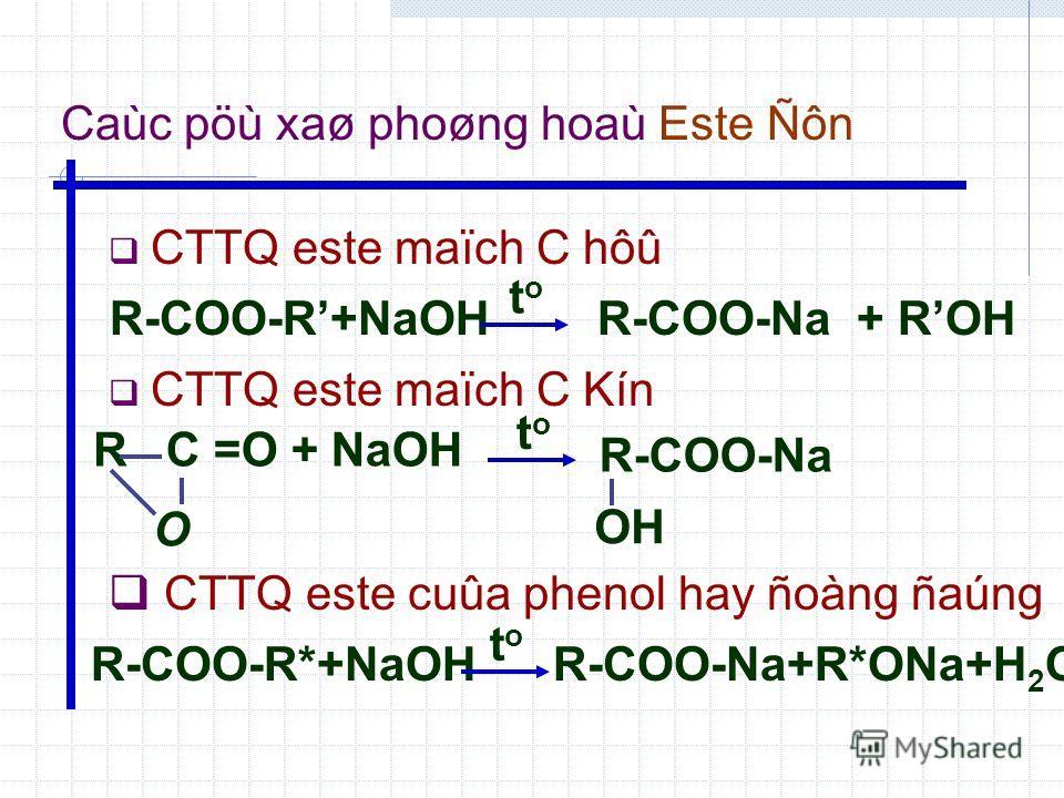 Caùc pöù xaø phoøng hoaù Este Ñôn R-COO-R+NaOH CTTQ este maïch C hôû CTTQ este maïch C Kín CTTQ este cuûa phenol hay ñoàng ñaúng RC =O + NaOH O R-COO-R*+NaOH toto R-COO-Na + ROH toto R-COO-Na OH toto R-COO-Na+R*ONa+H 2 O