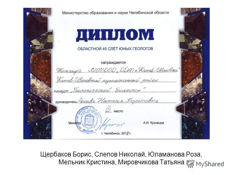 Щербаков Борис, Слепов Николай, Юламанова Роза, Мельник Кристина, Мировчикова Татьяна