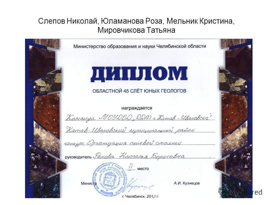 Слепов Николай, Юламанова Роза, Мельник Кристина, Мировчикова Татьяна