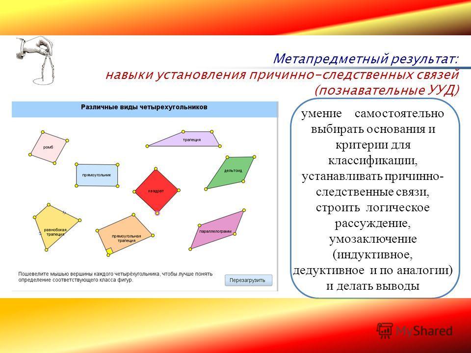 16 Метапредметный результат: навыки установления причинно-следственных связей (познавательные УУД) Начальное общее образование Основное общее образование умение самостоятельно выбирать основания и критерии для классификации, устанавливать причинно- с