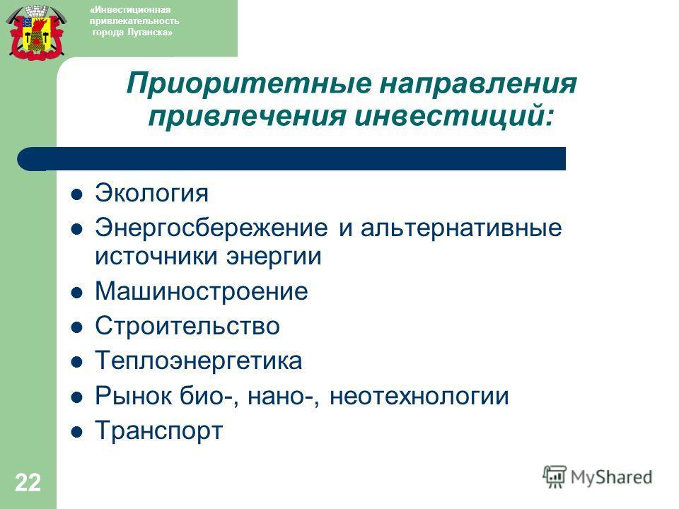 22 Приоритетные направления привлечения инвестиций: Экология Энергосбережение и альтернативные источники энергии Машиностроение Строительство Теплоэнергетика Рынок био-, нано-, неотехнологии Транспорт «Инвестиционная привлекательность города Луганска