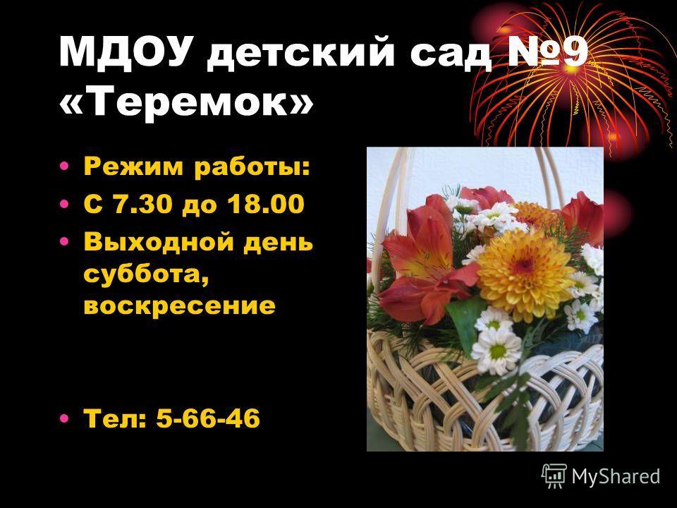 МДОУ детский сад 9 «Теремок» Режим работы: С 7.30 до 18.00 Выходной день суббота, воскресение Тел: 5-66-46