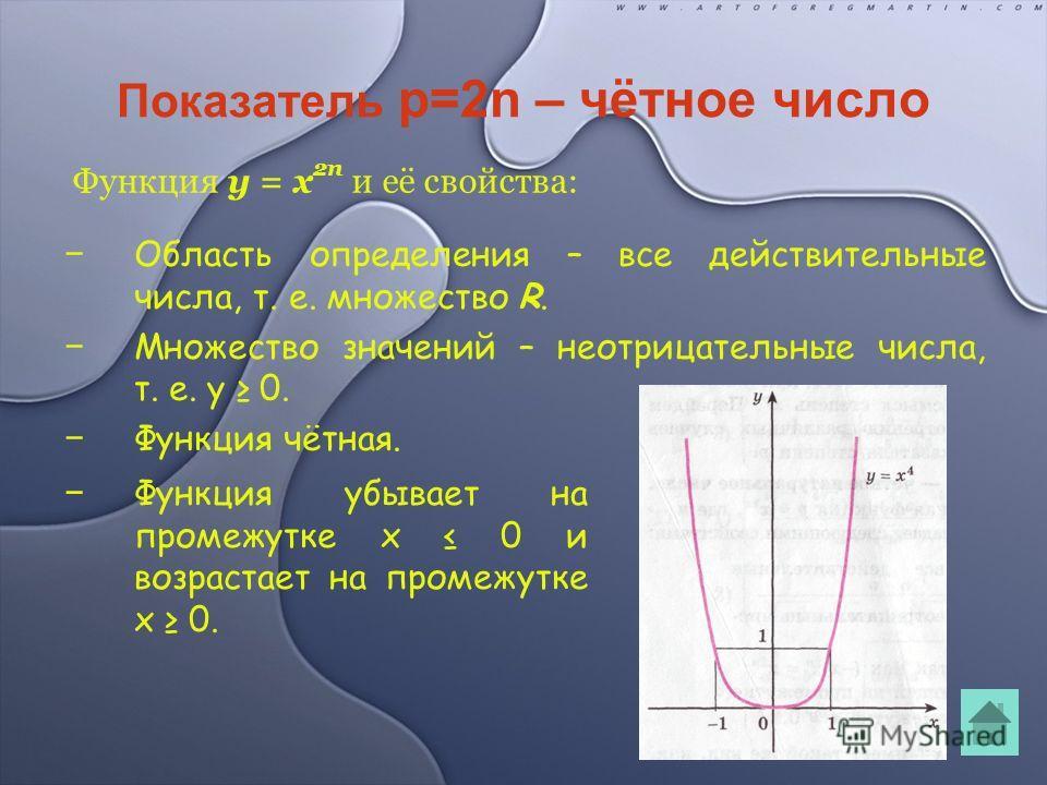 Показатель p=2n – чётное число Область определения – все действительные числа, т. е. множество R. Множество значений – неотрицательные числа, т. е. y 0. Функция чётная. Функция y = x 2n и её свойства: Функция убывает на промежутке x 0 и возрастает на
