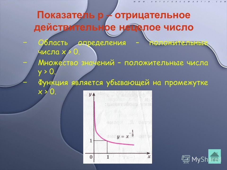 Показатель p – отрицательное действительное нецелое число Область определения – положительные числа x > 0. Множество значений – положительные числа y > 0. Функция является убывающей на промежутке x > 0.