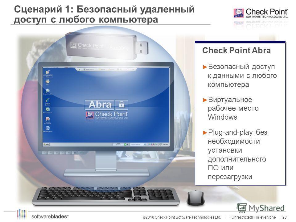 23 ©2010 Check Point Software Technologies Ltd. | [Unrestricted] For everyone | Сценарий 1: Безопасный удаленный доступ с любого компьютера Check Point Abra Безопасный доступ к данными с любого компьютера Виртуальное рабочее место Windows Plug-and-pl