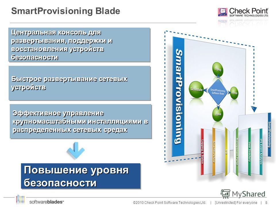 8 8©2010 Check Point Software Technologies Ltd. | [Unrestricted] For everyone | SmartProvisioning Blade Эффективное управление крупномасштабными инсталляциями в распределенных сетевых средах Повышение уровня безопасности Быстрое развертывание сетевых