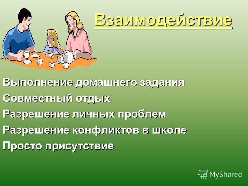 Взаимодействие Взаимодействие Выполнение домашнего задания Совместный отдых Разрешение личных проблем Разрешение конфликтов в школе Просто присутствие