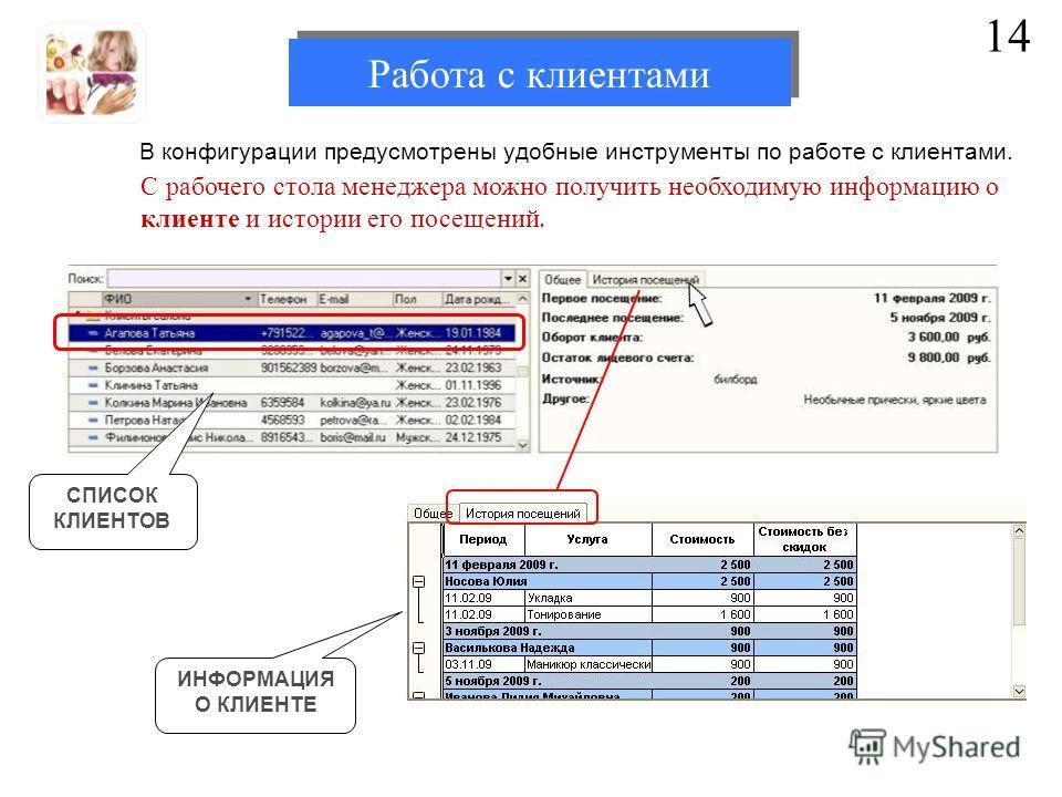 В конфигурации предусмотрены удобные инструменты по работе с клиентами. 14 СПИСОК КЛИЕНТОВ ИНФОРМАЦИЯ О КЛИЕНТЕ С рабочего стола менеджера можно получить необходимую информацию о клиенте и истории его посещений. Работа с клиентами
