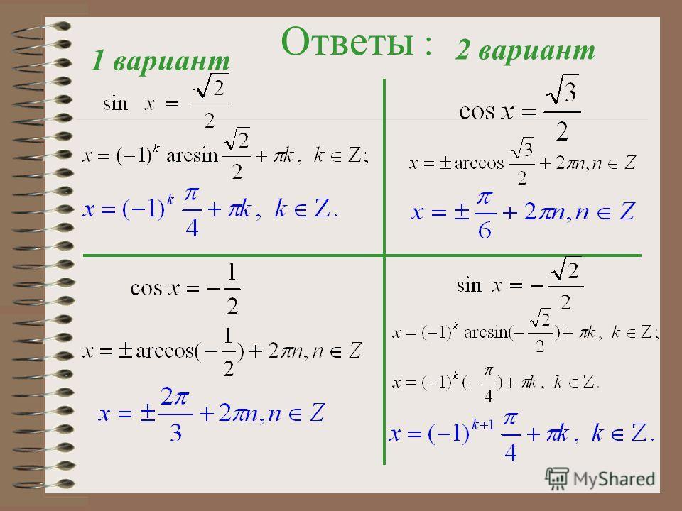 Решите уравнения: I вариант ІІ вариант