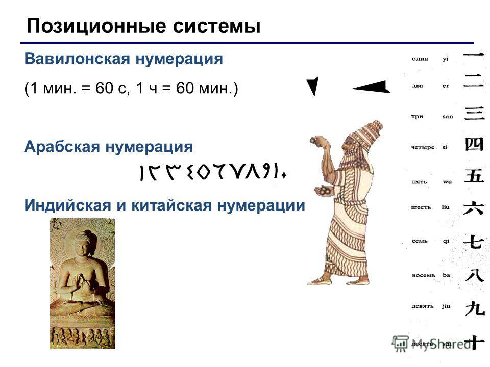 Позиционные системы Вавилонская нумерация (1 мин. = 60 с, 1 ч = 60 мин.) Арабская нумерация Индийская и китайская нумерации