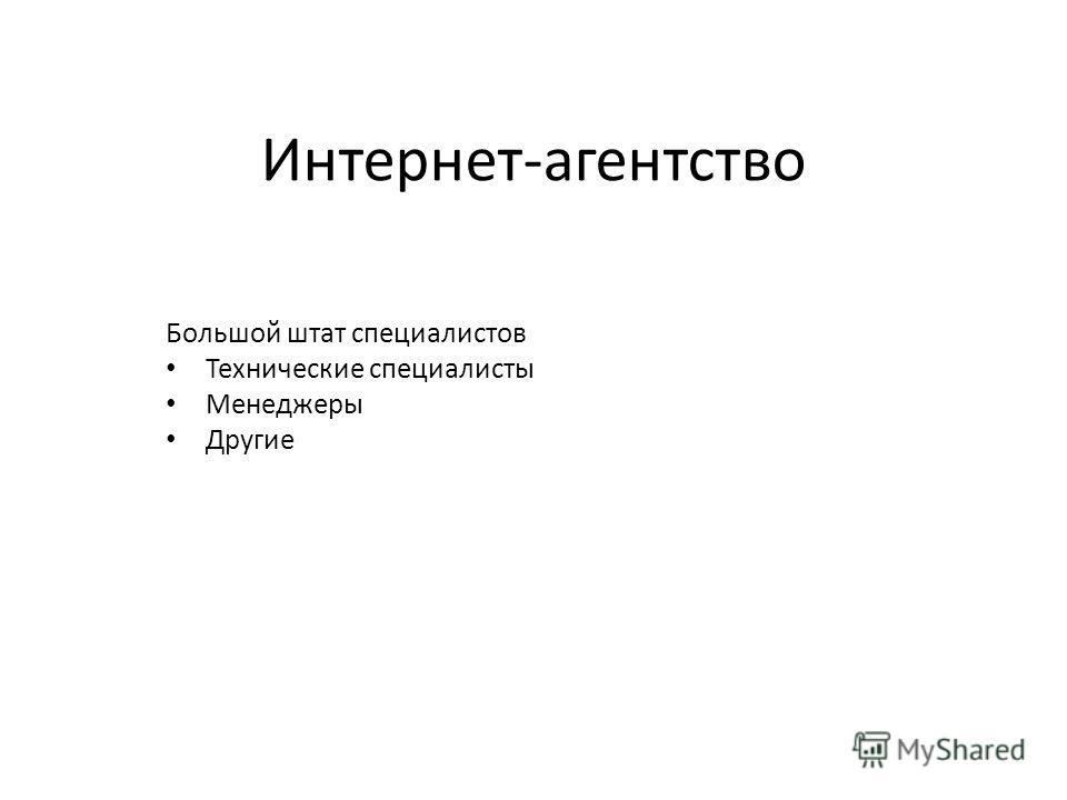 Интернет-агентство Большой штат специалистов Технические специалисты Менеджеры Другие