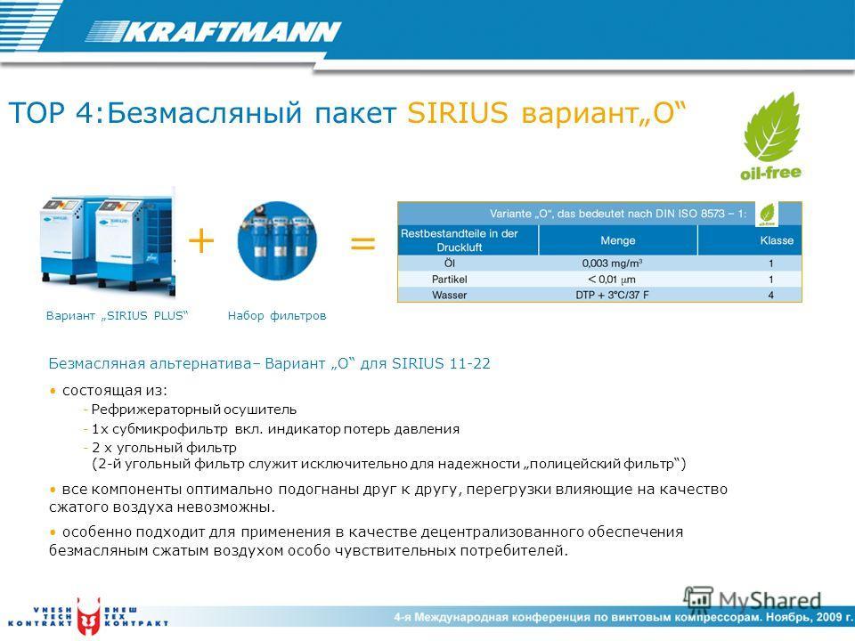 TOP 4:Безмасляный пакет SIRIUS вариантO Безмасляная альтернатива– Вариант O для SIRIUS 11-22 состоящая из: -Рефрижераторный осушитель -1x субмикрофильтр вкл. индикатор потерь давления -2 x угольный фильтр (2-й угольный фильтр служит исключительно для
