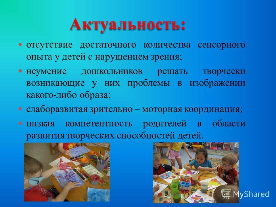 отсутствие достаточного количества сенсорного опыта у детей с нарушением зрения; неумение дошкольников решать творчески возникающие у них проблемы в изображении какого-либо образа; слаборазвитая зрительно – моторная координация; низкая компетентность