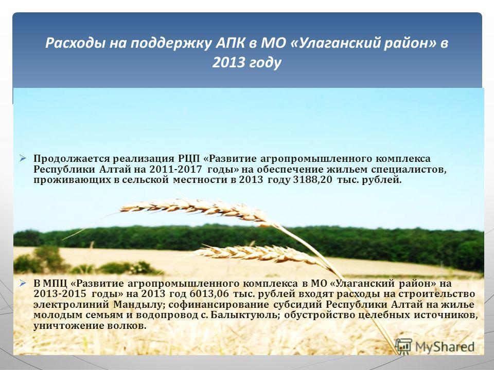 Продолжается реализация РЦП «Развитие агропромышленного комплекса Республики Алтай на 2011-2017 годы» на обеспечение жильем специалистов, проживающих в сельской местности в 2013 году 3188,20 тыс. рублей. В МПЦ «Развитие агропромышленного комплекса в