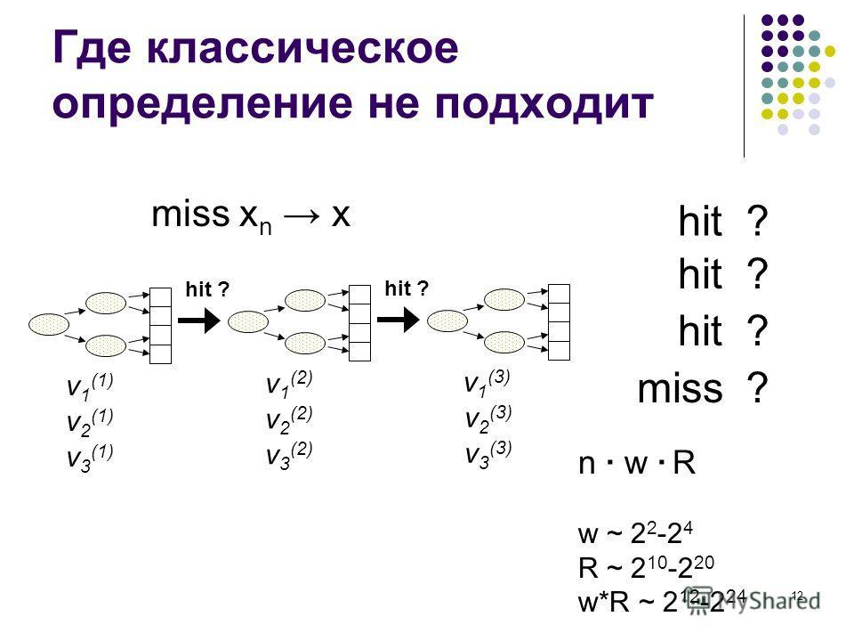 12 Где классическое определение не подходит ?hit ? ? ?miss miss x n x v 1 (1) v 2 (1) v 3 (1) v 1 (2) v 2 (2) v 3 (2) v 1 (3) v 2 (3) v 3 (3) hit ? n · w · R w ~ 2 2 -2 4 R ~ 2 10 -2 20 w*R ~ 2 12 -2 24