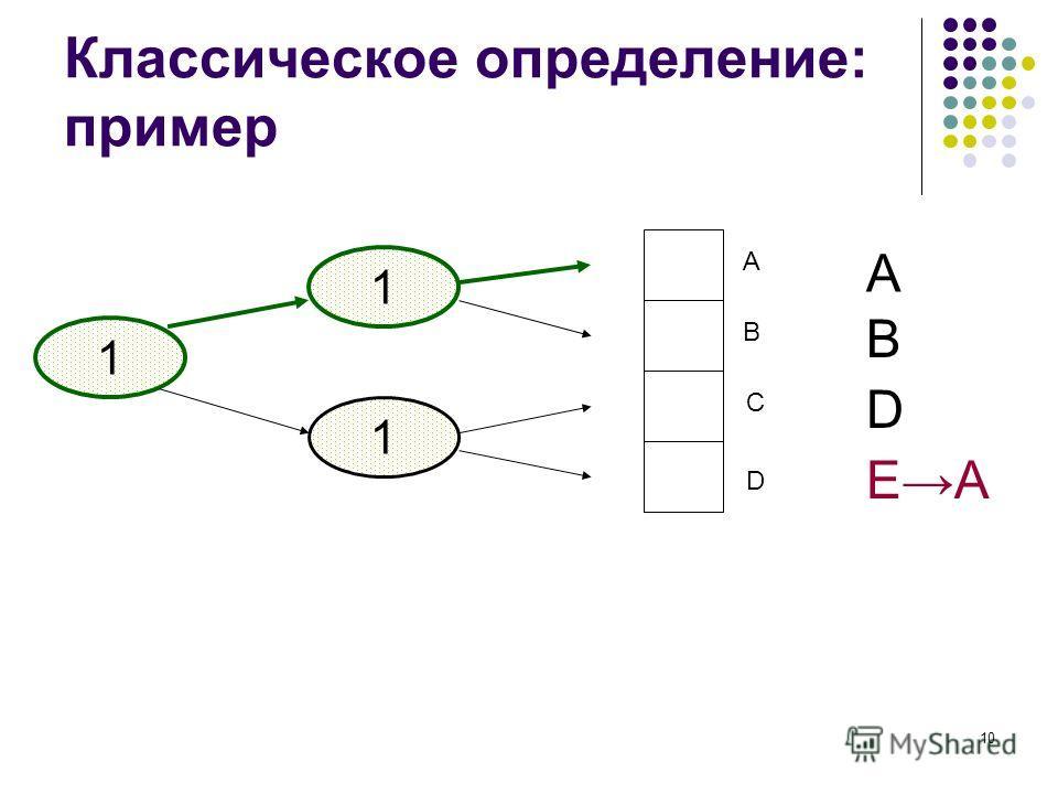 10 Классическое определение: пример 1 A B C D 1 1 A B D EA