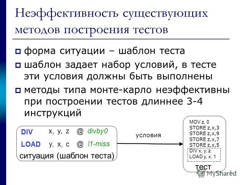 7 Неэффективность существующих методов построения тестов форма ситуации – шаблон теста шаблон задает набор условий, в тесте эти условия должны быть выполнены методы типа монте-карло неэффективны при построении тестов длиннее 3-4 инструкций DIV LOAD x