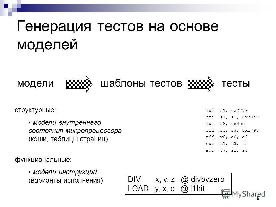 6 Генерация тестов на основе моделей моделишаблоны тестовтесты структурные: модели внутреннего состояния микропроцессора (кэши, таблицы страниц) функциональные: модели инструкций (варианты исполнения) lui s1, 0x2779 ori s1, s1, 0xc8b9 lui s3, 0x4ee o