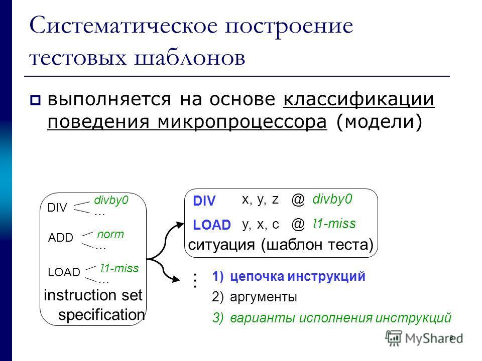 8 Систематическое построение тестовых шаблонов выполняется на основе классификации поведения микропроцессора (модели) 1)цепочка инструкций 2)аргументы 3)варианты исполнения инструкций DIV LOAD divby0 … l 1-miss … ADD norm … DIV LOAD x,y, x, z c @ div