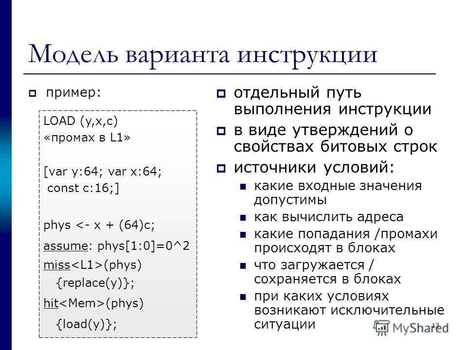 Модель варианта инструкции пример: отдельный путь выполнения инструкции в виде утверждений о свойствах битовых строк источники условий: какие входные значения допустимы как вычислить адреса какие попадания /промахи происходят в блоках что загружается
