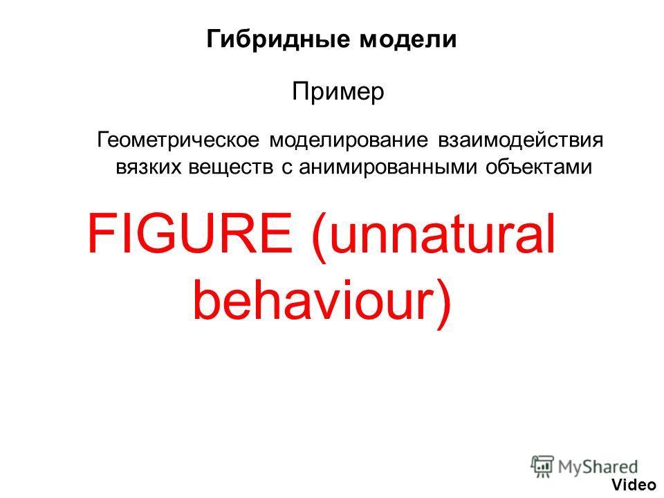 Гибридные модели FIGURE (unnatural behaviour) Video Геометрическое моделирование взаимодействия вязких веществ с анимированными объектами Пример