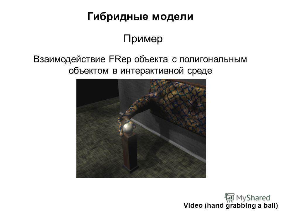 Гибридные модели Взаимодействие FRep объекта с полигональным объектом в интерактивной среде Пример Video (hand grabbing a ball)