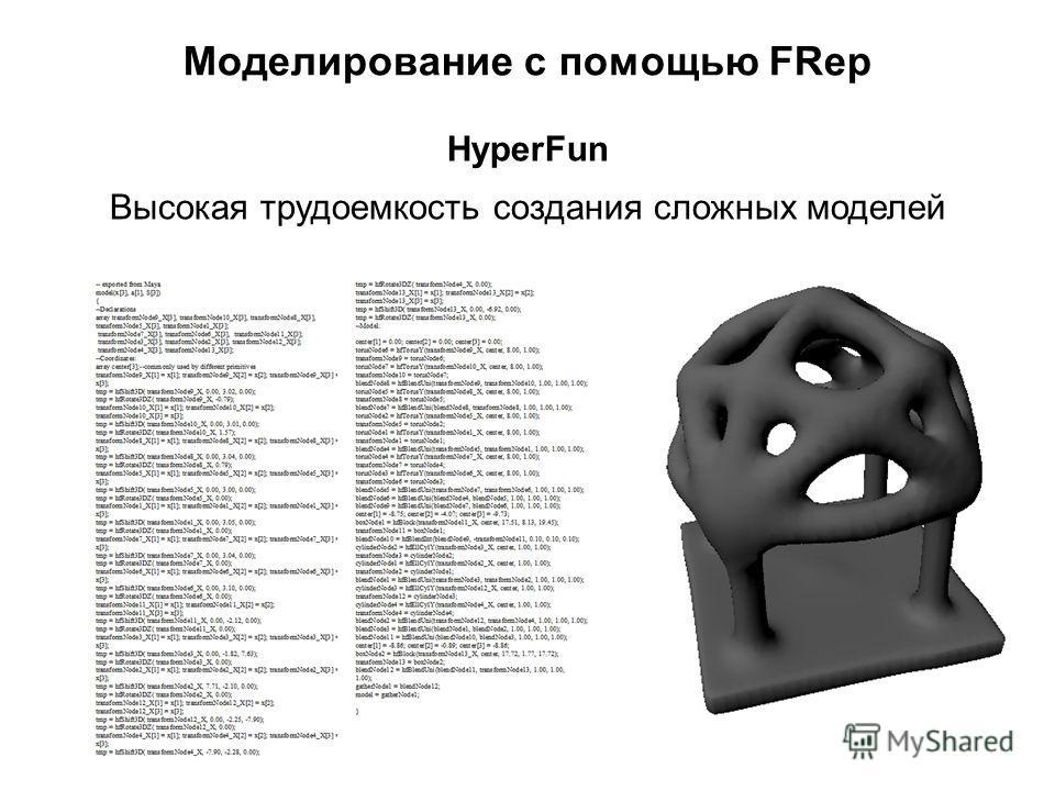 Моделирование с помощью FRep Высокая трудоемкость создания сложных моделей HyperFun