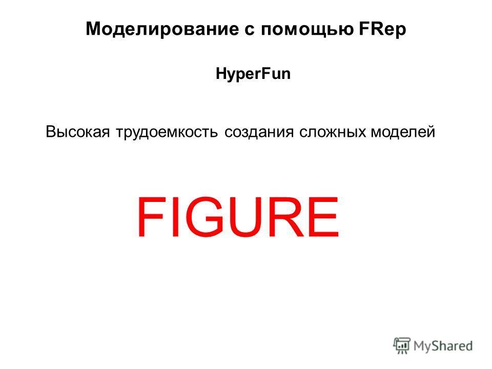 Моделирование с помощью FRep Высокая трудоемкость создания сложных моделей HyperFun FIGURE