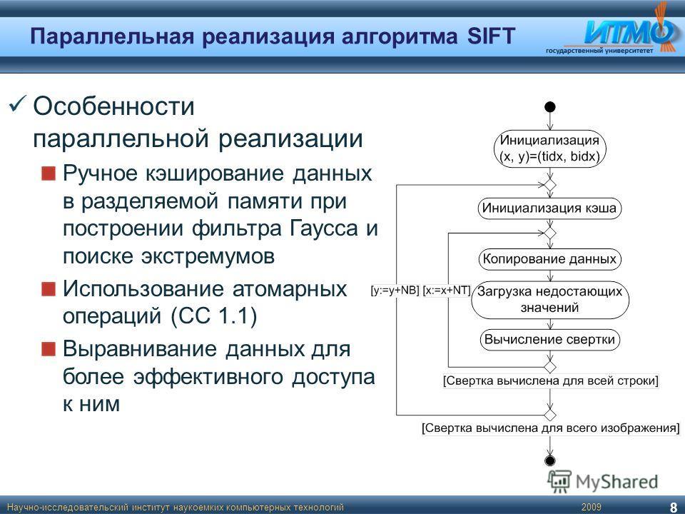 Параллельная реализация алгоритма SIFT Научно-исследовательский институт наукоемких компьютерных технологий 8 2009 Особенности параллельной реализации Ручное кэширование данных в разделяемой памяти при построении фильтра Гаусса и поиске экстремумов И